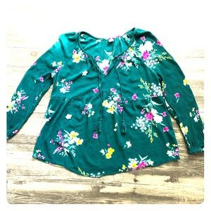 Old Navy green floral Peplum